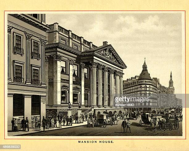 victorian london - mansion house - pediment stock illustrations, clip art, cartoons, & icons