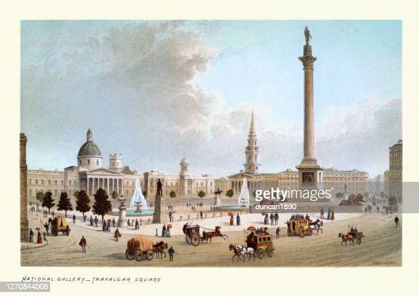 victorian london, national gallery, trafalgar square, nelson's column, 19th century - national gallery london stock illustrations