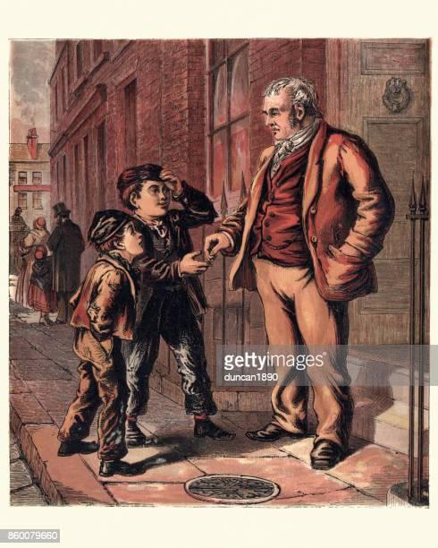 victorian london orphan boy begging on the street, 1870 - vagabond stock illustrations, clip art, cartoons, & icons