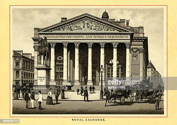 victorian london - royal exchange - pediment stock illustrations, clip art, cartoons, & icons