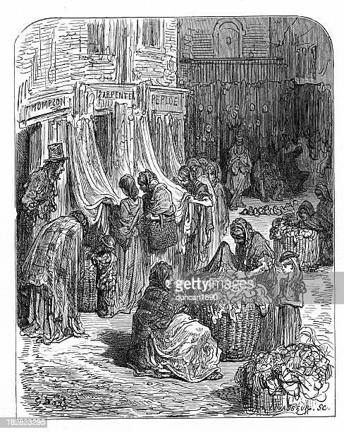 ilustraciones, imágenes clip art, dibujos animados e iconos de stock de victorian london-ropa mercado de segunda mano - puesto de mercado