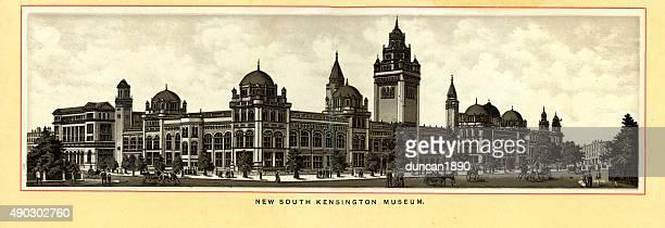 victorian london - south kensington museum - victoria and albert museum london stock illustrations