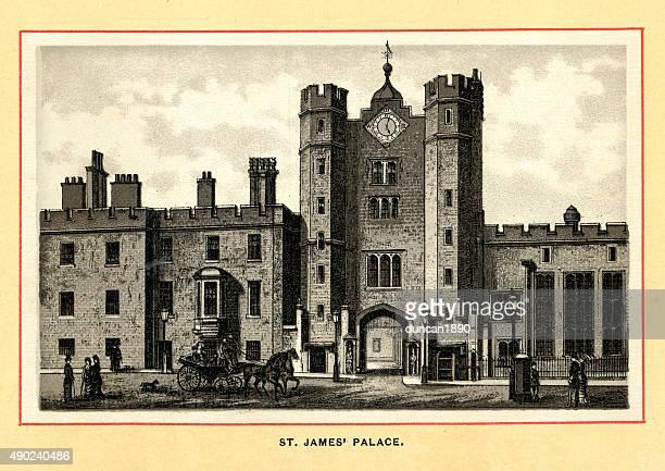 victorian london - st james's palace - st. james's palace london stock illustrations