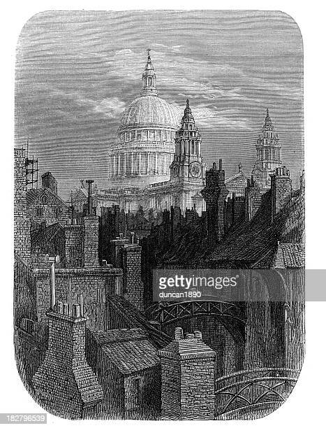 victorian london - st paul's cathedral - st. paul's cathedral london stock illustrations