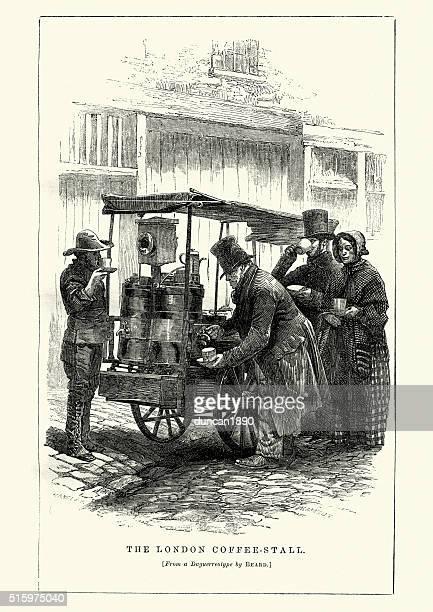ilustraciones, imágenes clip art, dibujos animados e iconos de stock de victoriana londres, el puesto de café - puesto de mercado