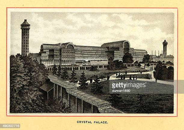 victorian london - the crystal palace - great exhibition stock illustrations, clip art, cartoons, & icons
