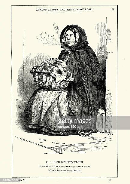 ilustrações de stock, clip art, desenhos animados e ícones de vitoriano londres a irlanda-vendedor de rua - cesta de fruta