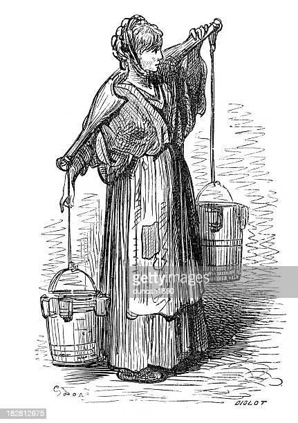 illustrations, cliparts, dessins animés et icônes de victorian londres-the milkwoman - seau