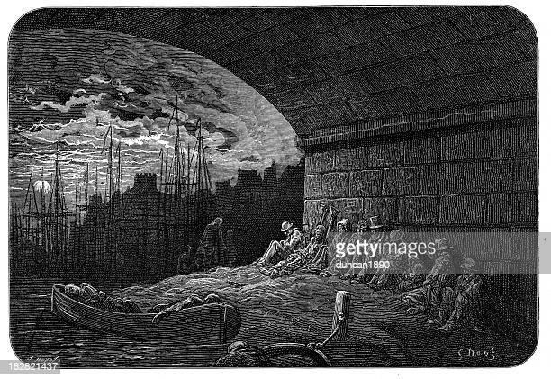 victorian london - under the arches - vagabond stock illustrations, clip art, cartoons, & icons