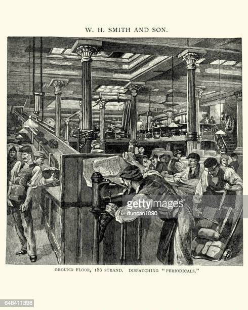 victorian mailroom of wh smith, 1892 - post office stock illustrations, clip art, cartoons, & icons