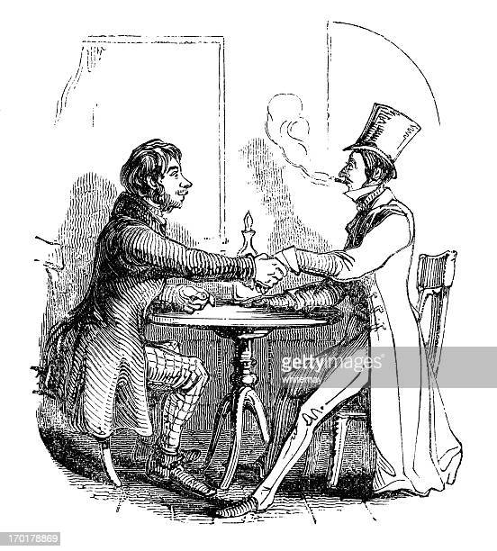 victorian male friendship - sunday best stock illustrations, clip art, cartoons, & icons