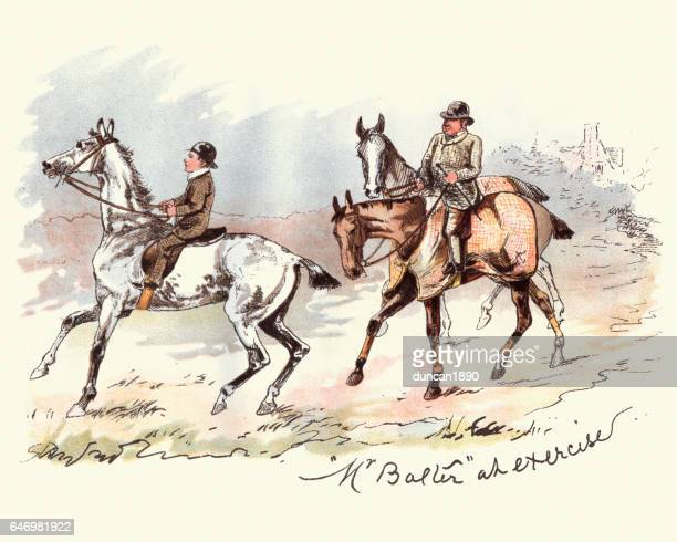 Victorian man and boy riding horses