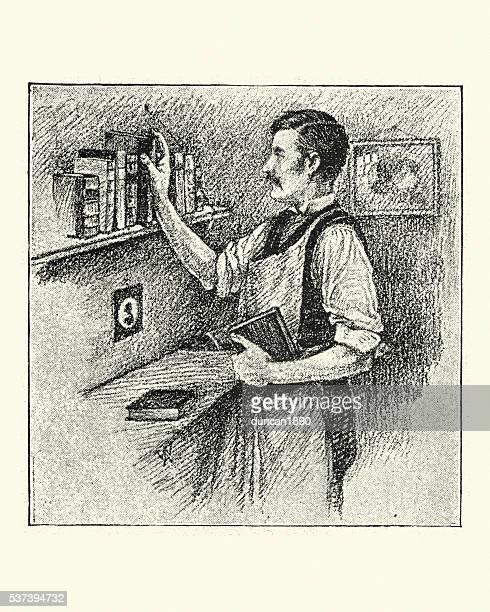 ilustrações, clipart, desenhos animados e ícones de vitoriana homem e seus livros - livraria