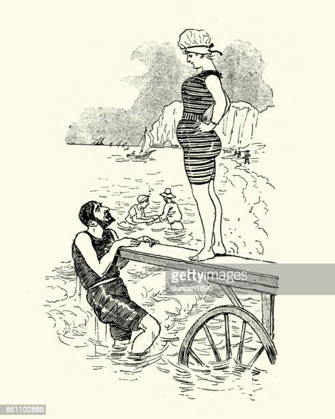 victorian man and woman diving into the sea, 1880s - swimwear stock illustrations, clip art, cartoons, & icons