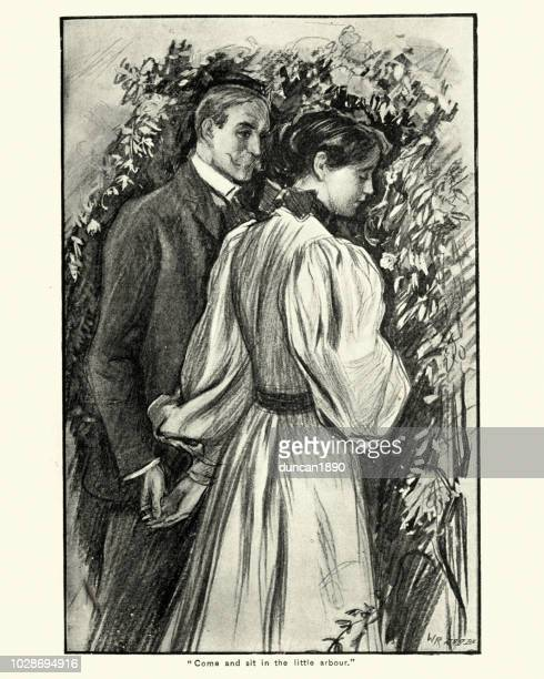 victorian man and woman holding hands, 1890s, 19th century - flirting stock illustrations, clip art, cartoons, & icons