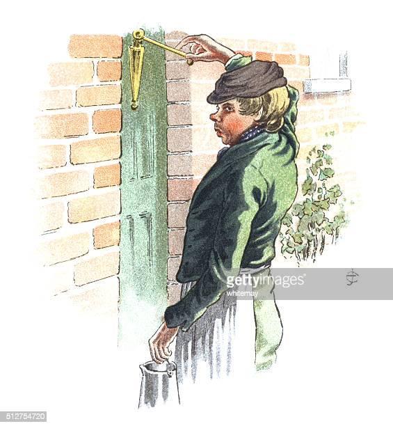 illustrations, cliparts, dessins animés et icônes de victorien homme proposer un pichet de la bière à la maison - marteaudeporte