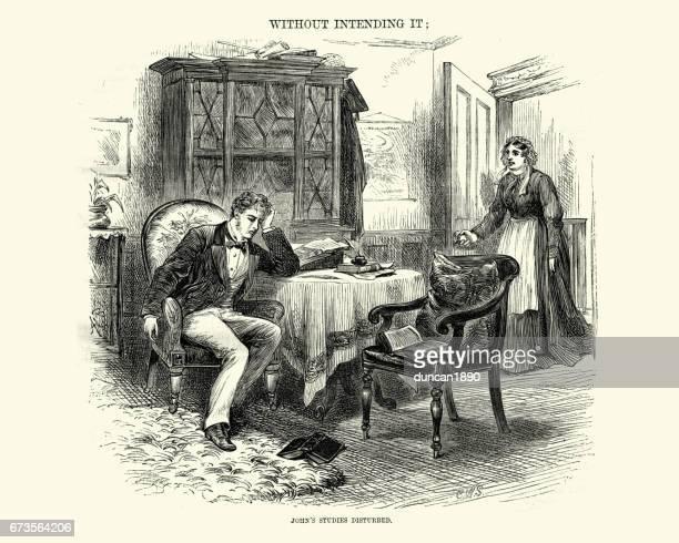 Victorien homme dérangé par sa femme de ménage tout en écrivant une lettre de 1872