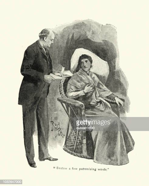 victorian man explaining documents to a woman, 19th century - sneering stock illustrations, clip art, cartoons, & icons