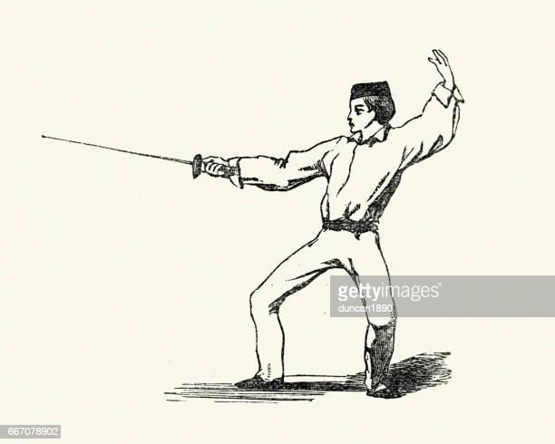 ilustrações de stock, clip art, desenhos animados e ícones de victorian man fencing, 19th century - luta de espadas