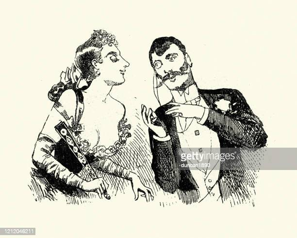 victorian man flirting with woman in low cut dress, 19th century - en búsqueda stock illustrations