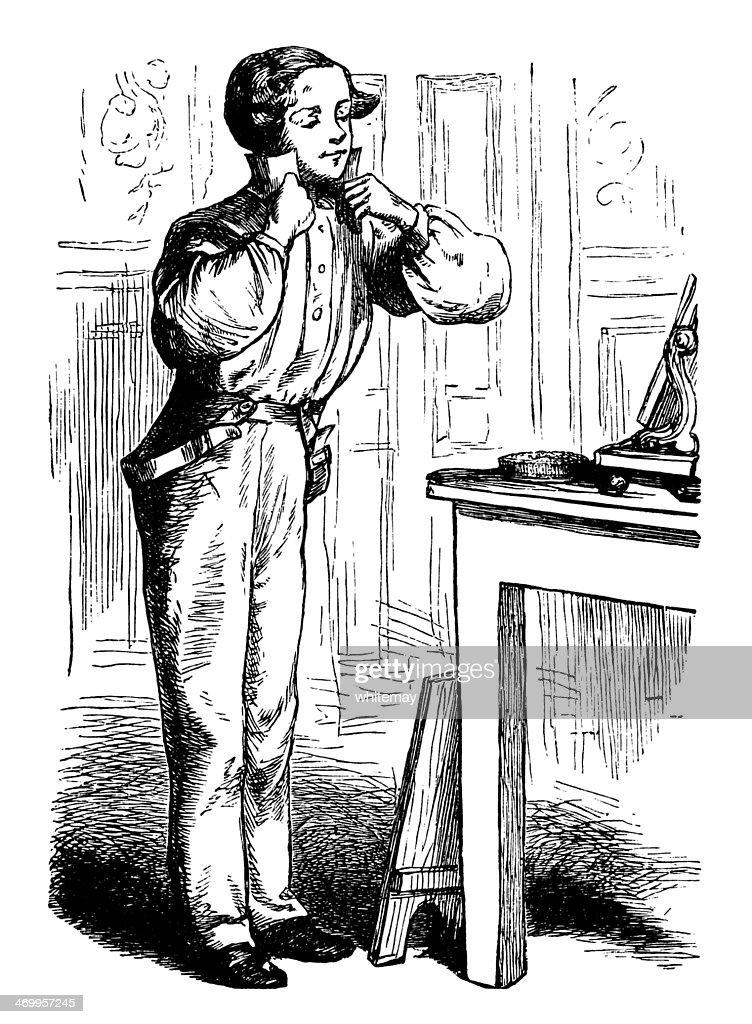 Victorian homem vestir-se : Ilustração