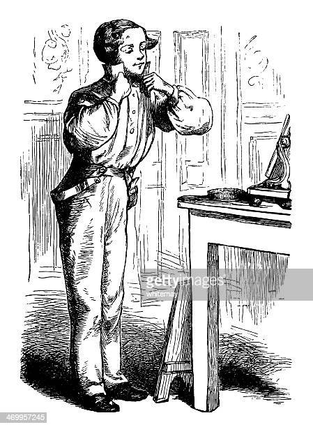 victorian man getting dressed - sunday best stock illustrations, clip art, cartoons, & icons