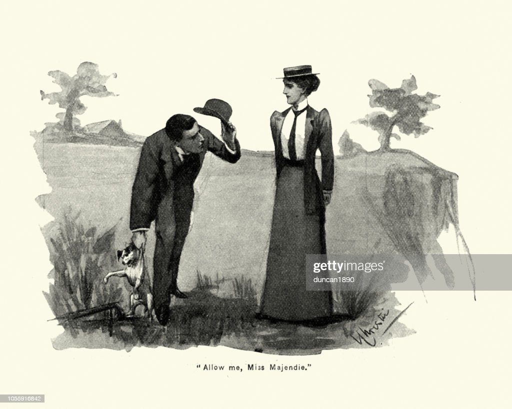 Victorian man helping woman with her dog, 1890s, 19th Century : stock illustration
