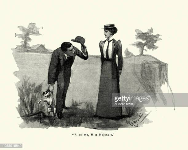 Victorian man helping woman with her dog, 1890s, 19th Century