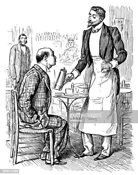 Victorian man ordering coffee from a waiter in a bar