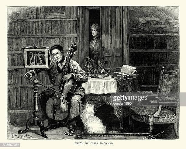 illustrations, cliparts, dessins animés et icônes de victorien homme joue du violoncelle - pupitre à musique
