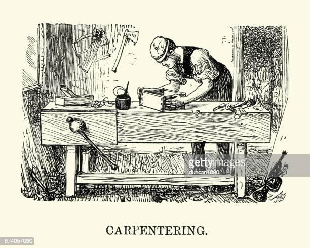 victorian man practicing carpentry - carpentry stock illustrations