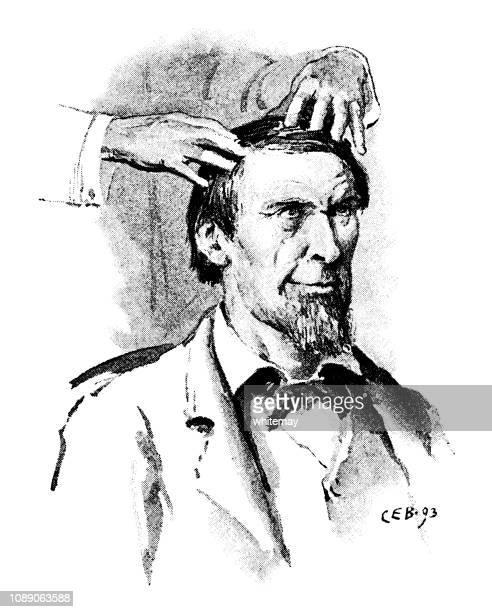 victorian man receiving a head massage - massage funny stock illustrations
