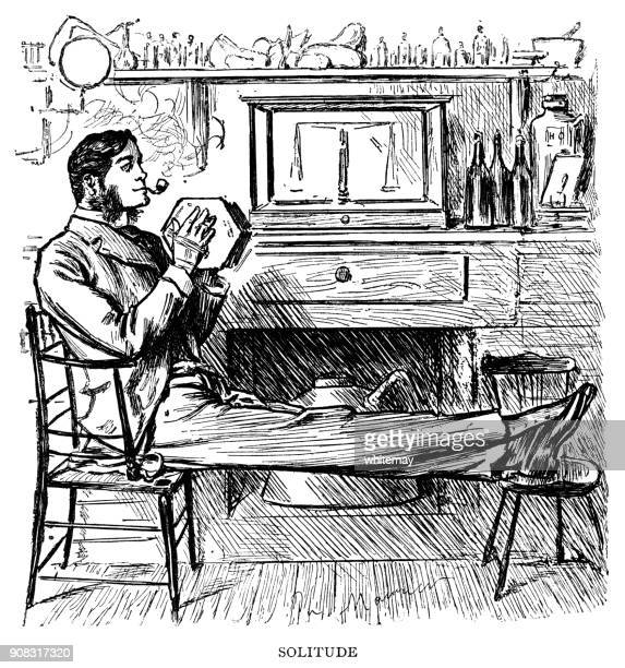 Victorian man relaxing at home with his pipe and concertina