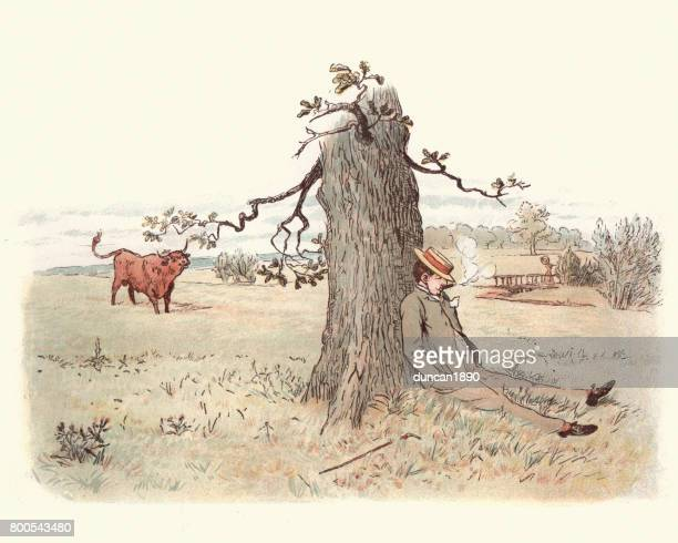 Victorian man relaxing by a tree, bull watches him