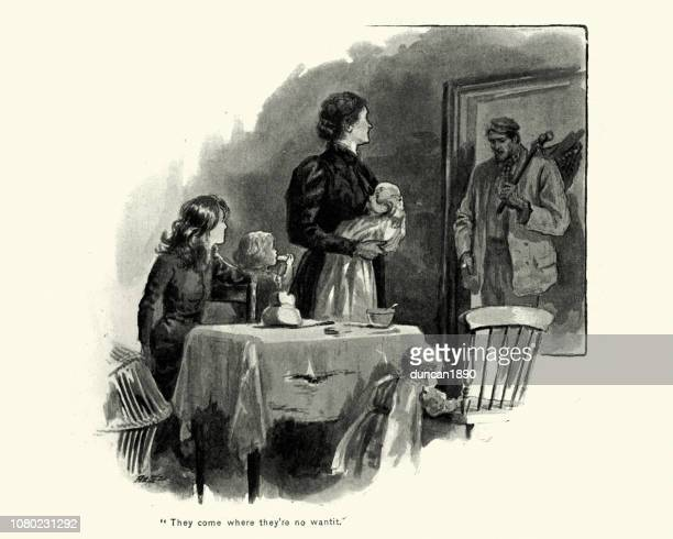victorian man returning home to his wife and children - stereotypical homemaker stock illustrations