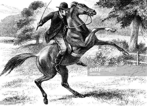 Victorian man riding a rearing horse