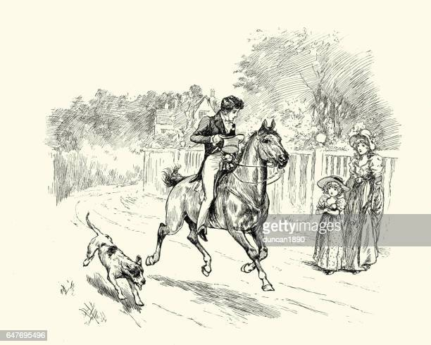 victorian man riding his horse - horseback riding stock illustrations, clip art, cartoons, & icons