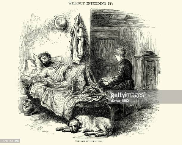 Victorian man sick in bed, wife dog sit by side