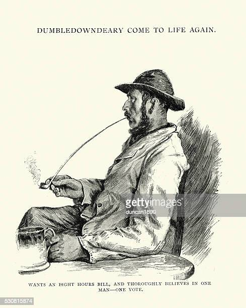 victorian man smoking a long clay pipe - only men stock illustrations, clip art, cartoons, & icons