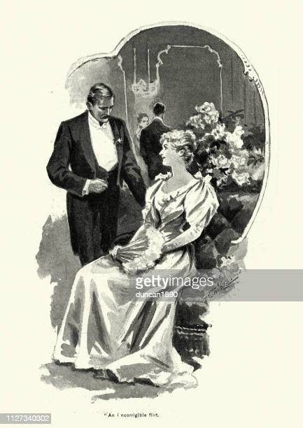 victorian man talking to a young woman at a party, 1890s - flirting stock illustrations, clip art, cartoons, & icons