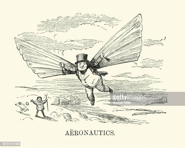 Victorian man trying to fly, c. 1880