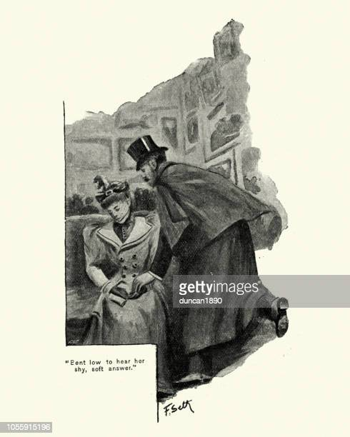 Victorian man whispering in a womans ear