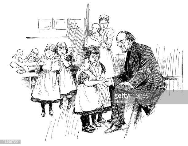 victorian man with a nurse and children - orphan stock illustrations