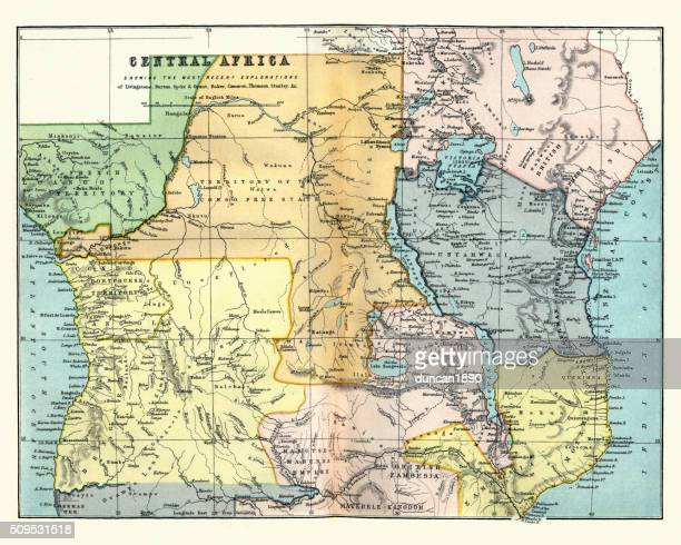 victorian map of central africa - zimbabwe stock illustrations, clip art, cartoons, & icons