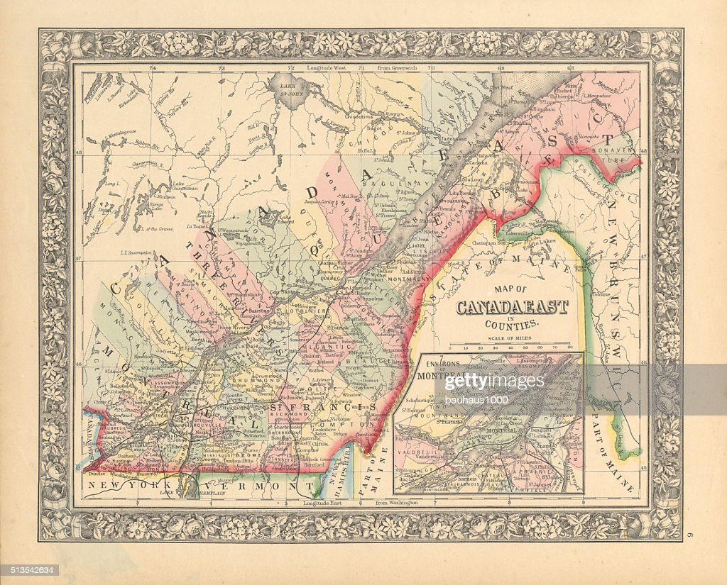 victorian map of eastern canada circa 1850 stock illustration