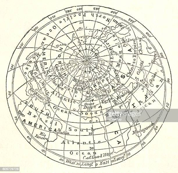 victorian map of the arctic circle - latitude stock illustrations