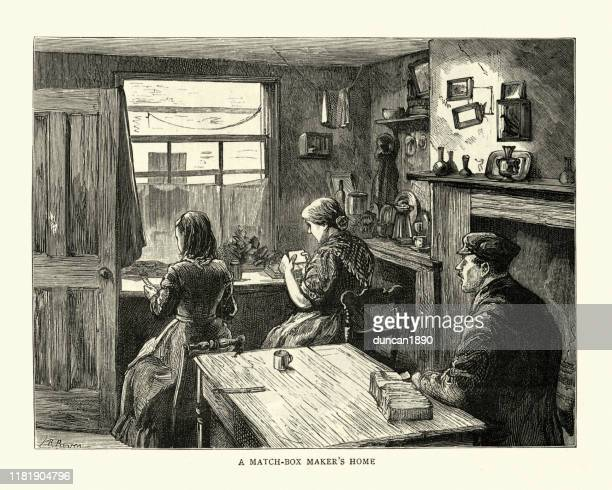 victorian match-box maker's home, east end of london, 19th century - east london stock illustrations