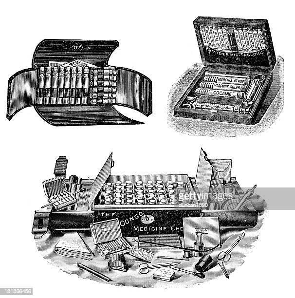 victorian medical kits - opium stock illustrations
