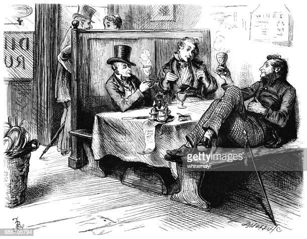 Victorian men drinking hot toddies in a restaurant