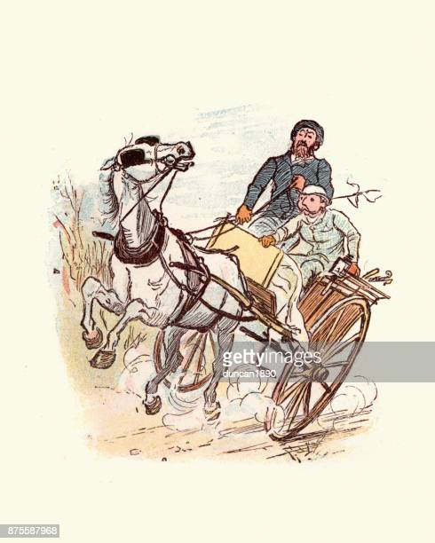 victorian men driving an out of control horse and cart - runaway vehicle stock illustrations, clip art, cartoons, & icons